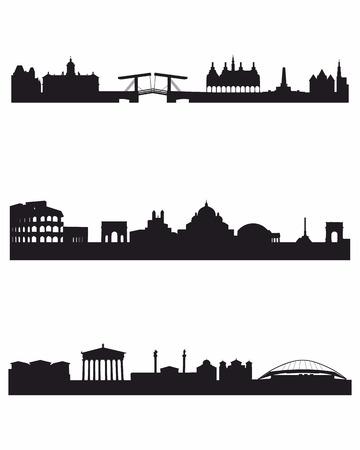 3 つの首都シルエットのベクトル イラスト