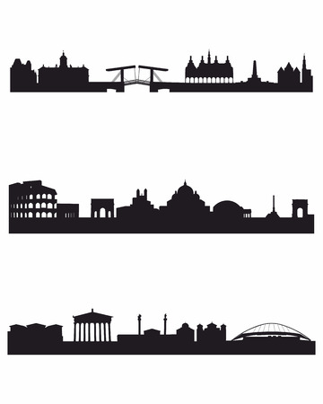 Vector illustratie van een drie hoofdsteden silhouetten Stock Illustratie