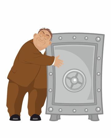Vector illustratie van een bankier met een veilige Vector Illustratie
