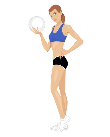 muscular build: Vector illustration of a girl with ball Illustration