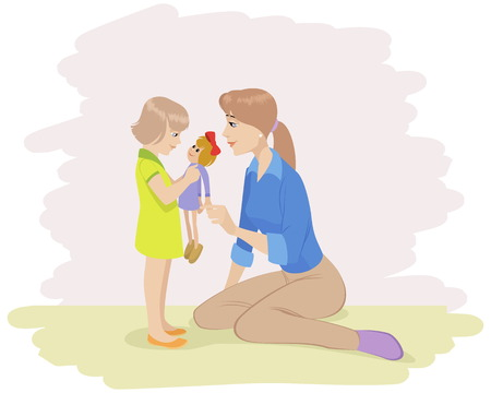 Vector illustration of a mother playing with daughter