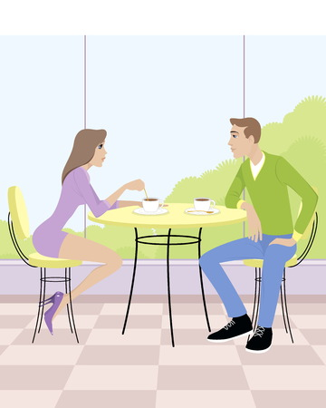 Vector illustration of a couple sitting in cafe