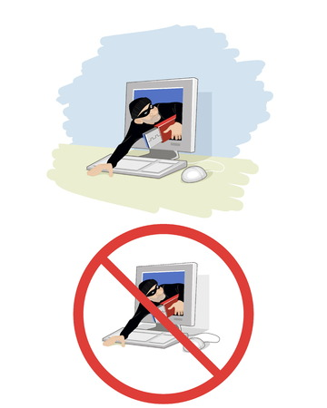computer crime: Vector illustration of a thief stole information Illustration