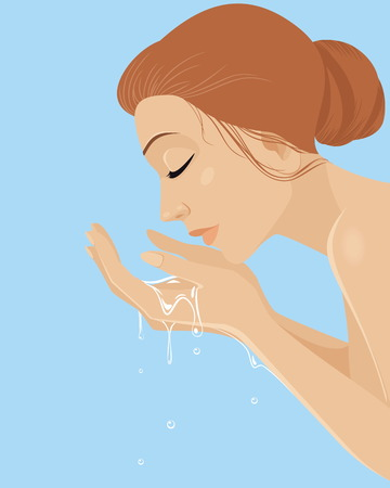 Vector illustration of a girl washing face Фото со стока - 35148749