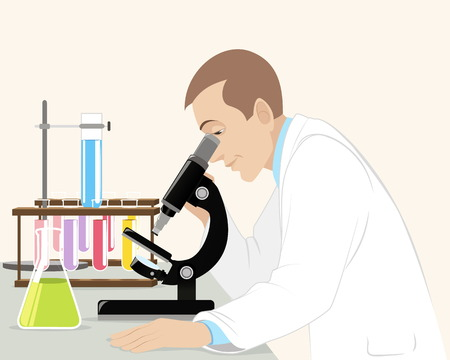 Vector illustration of a scientist with microscope Vector