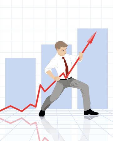 superacion personal: Ilustraci�n vectorial de un hombre de negocios con el gr�fico