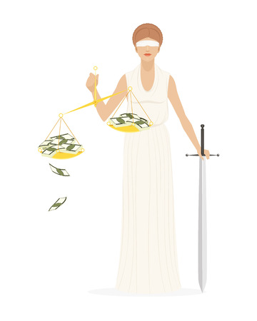 Vector illustration of a themis with sword and scales