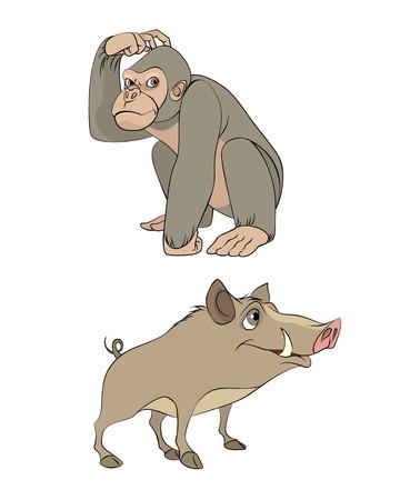 Vector animals: Vector hình minh họa của một hai loài động vật hoang dã Hình minh hoạ