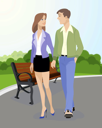 hands holding tree: Vector illustration of a young couple walking