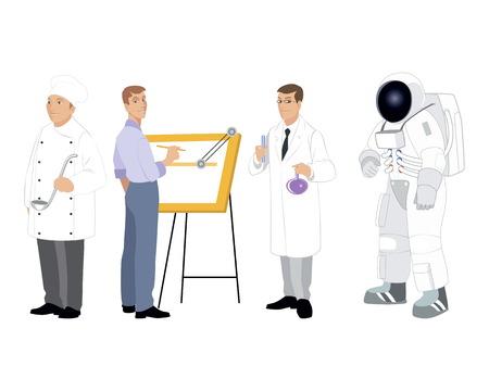 arquitecto caricatura: Ilustración vectorial de un cuatro profesiones ajustado Vectores