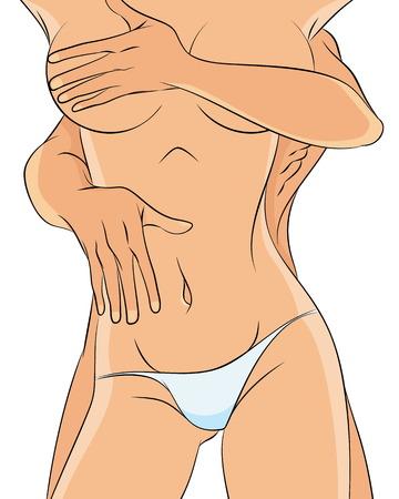 sexo femenino: Ilustración vectorial de una pareja desnuda en blanco Vectores