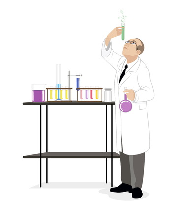 microbiologist: Vector illustration of a scientist with test-tube