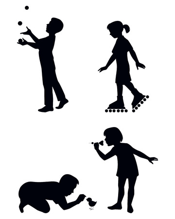 juggles: Vector illustration of a four children playing silhouettes