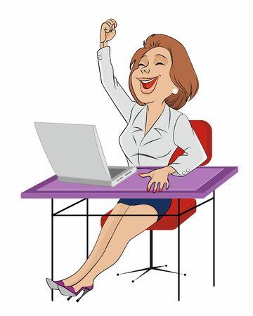 jubilation: Vector illustration of a secretary sitting at table