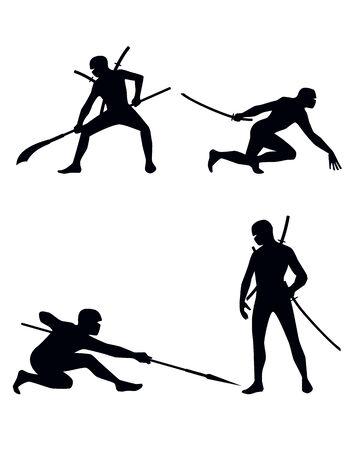 Vector illustration of a four ninja set