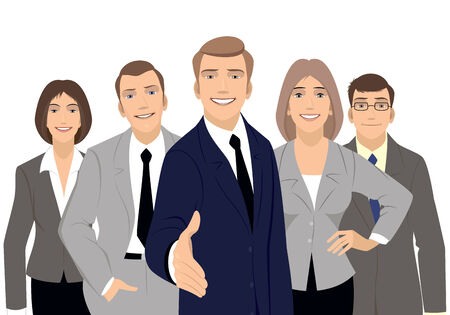 Vector illustration of a business team on white Фото со стока - 35281965