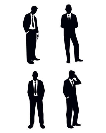 hombre pintando: Ilustraci�n vectorial de un cuatro siluetas de negocios