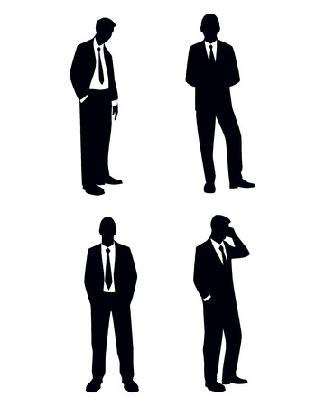black men: Vector illustration of a four businessman silhouettes