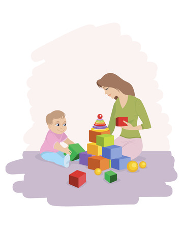Vector illustration of a mom with son playing cubes Illustration