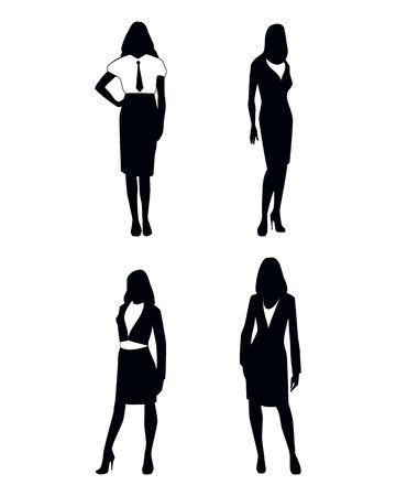 mujer trabajadora: Ilustraci�n vectorial de un cuatro siluetas empresaria