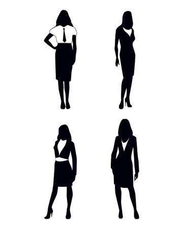 woman business suit: Vector illustration of a four businesswoman silhouettes Illustration