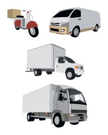 Vector illustration of a four vehicle set