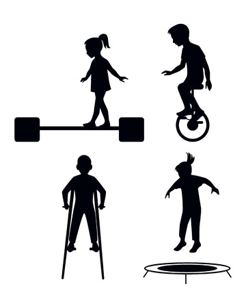Vector illustration of a children playing silhouettes Иллюстрация