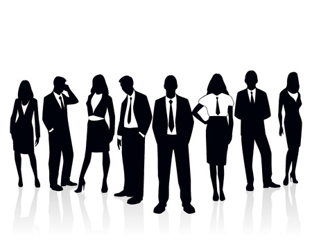 Vector illustration of a business team silhouette