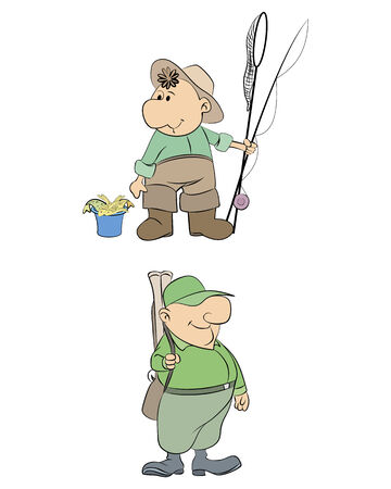 Vector illustration of a fisherman and hunter