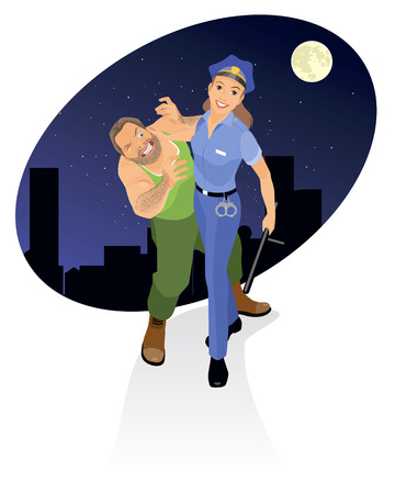 Vector illustration of a policeman arresting criminal Vector