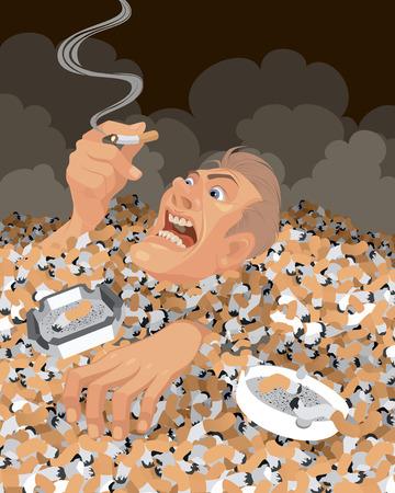 mal aliento: Ilustraci�n vectorial de un hombre que se hunde en las colillas de cigarrillos