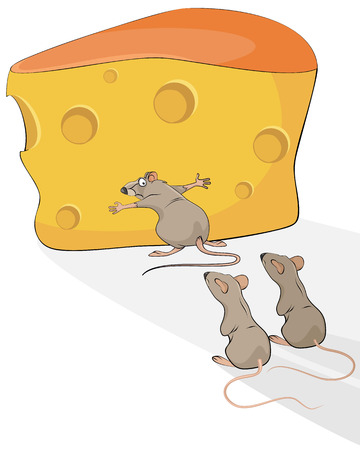 voracious: illustration of a rat with cheese Illustration