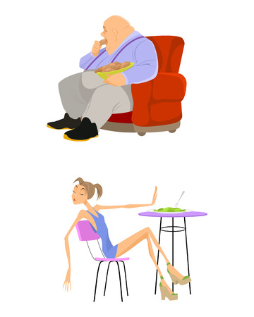 bulimia: Vector illustration of a weight problems people Illustration