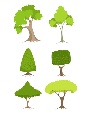 illustration of a green trees set