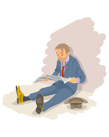 illustration of a unemployment man on the floor Иллюстрация