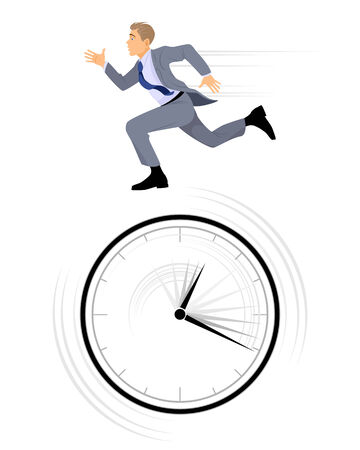 illustration of a businessman rushing on white Иллюстрация
