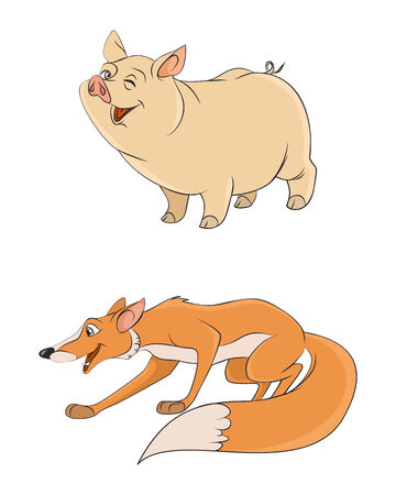 illustration of a two animals: fox and pig