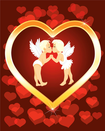 illustration of a two little angels kissng