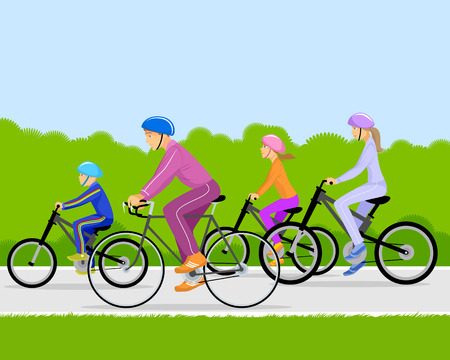 Vector illustration of a family on bicycles