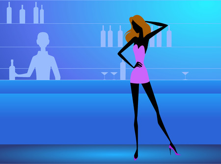 Vector illustration of a girl in the club