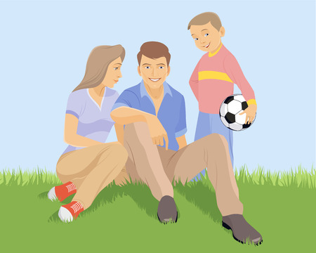 Vector illustration of a young family on the grass
