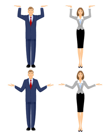 Vector illustration of a businessman and  businesswoman