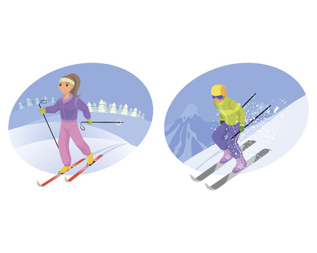 Vector illustration of a skier and mountain-skier