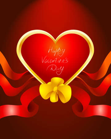Vector illustration of a valentines card in red