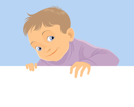 Vector illustration of a child with banner