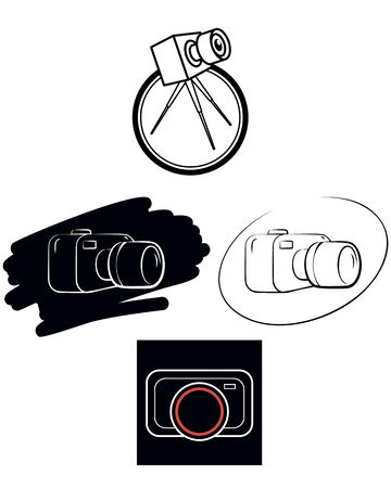 Vector illustration of a camera  on white