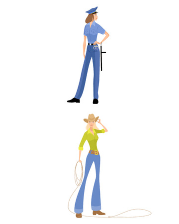 police girl: Vector illustration of a cowgirl and police girl