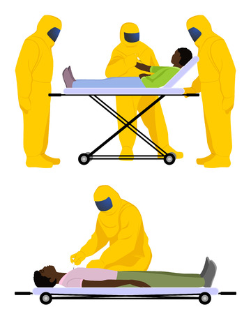 doctor gloves: Vector illustration of a doctors are struggling with Ebola