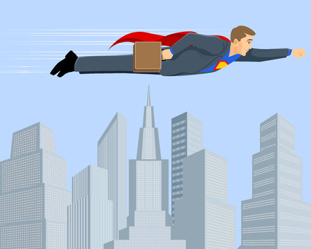 Vector illustration of a  superbusinessman above the city Иллюстрация