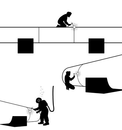 workwear: Vector illustration of a welders welding pipe